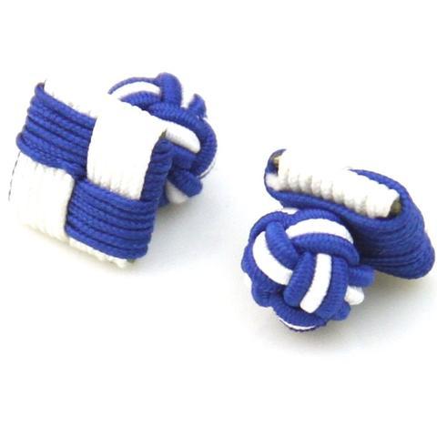 Blue White Square Knot Cufflinks
