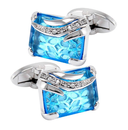 Faceted Turquoise Crystal Cufflinks - 1