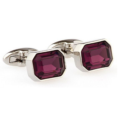 Faceted Purple Crystal Hexagonal Cufflinks - 1