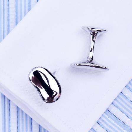 Silver bean cufflinks - 1
