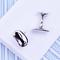 Silver bean cufflinks - 1/2