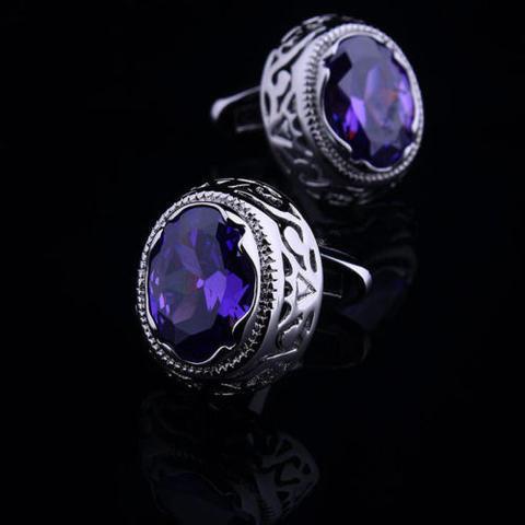Violet Crystal Circular Ornament Cufflinks - 1