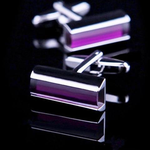 Violet Thin Rectangle Cufflinks - 1