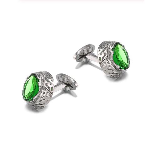 Green Crystal Circular Ornament Cufflinks - 1