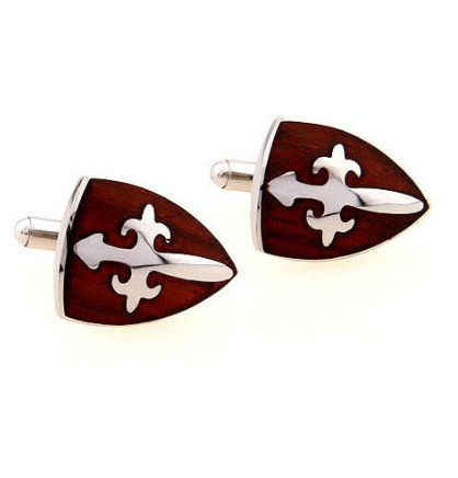 Medieval Burgundy Shield Cufflinks - 1