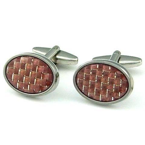 Oval Zig Zag Steel Cufflinks - 1
