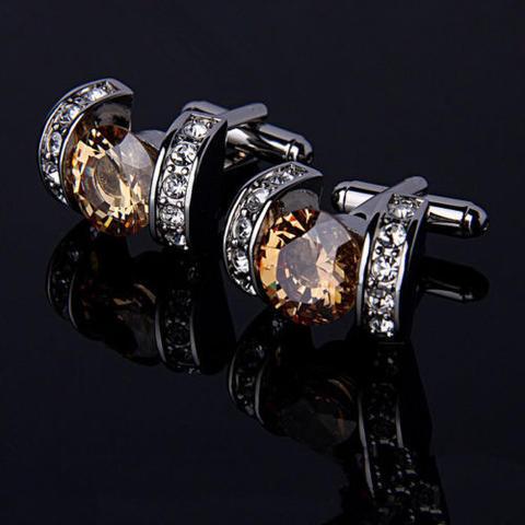 Elegant Vintage Crystal Cufflinks - 1