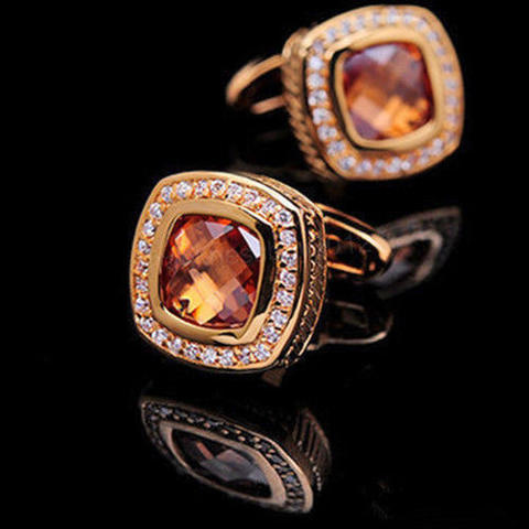 Vintage Amber Crystal Cufflinks - 1