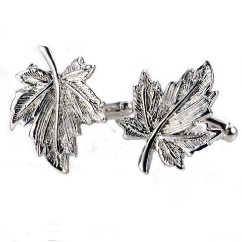 Silver Metal Maple Leaf Cufflinks