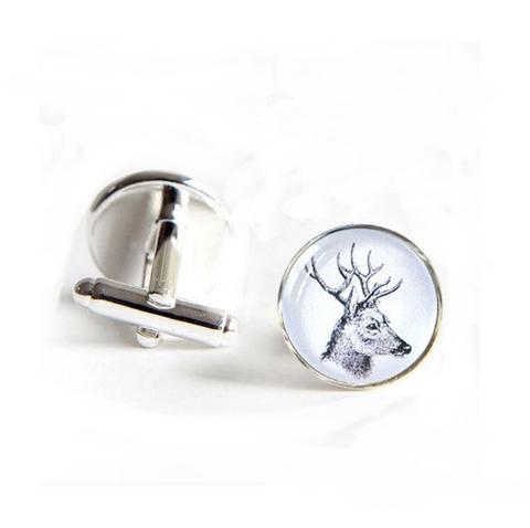 White deer cufflinks