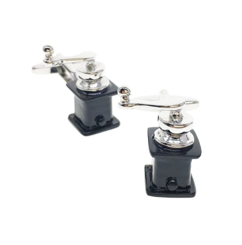 Coffee grinder cufflinks - 1