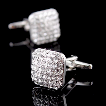 Rectangle Bright Crystals Cufflinks - 1
