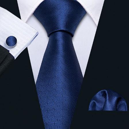 Cufflinks & Tie & Pocket Square Set - blue Aglaia