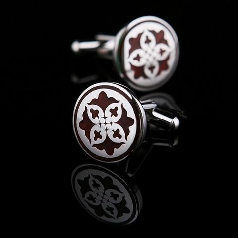 Burgundy Shield Cufflinks - 1