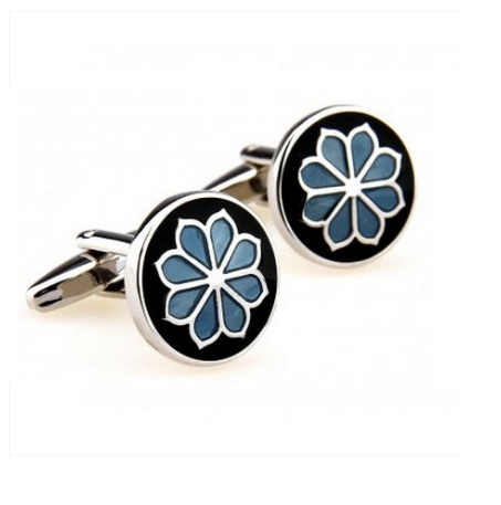 Blue Flower Round Cufflinks - 1