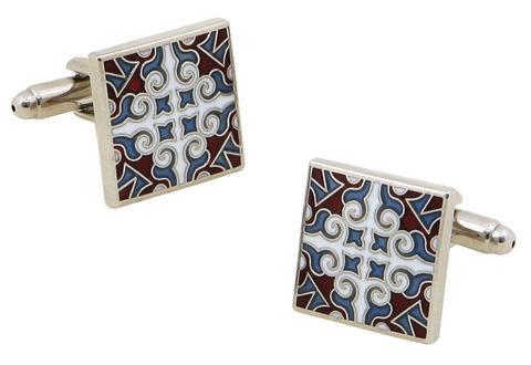 Red Blue Tile Cufflinks
