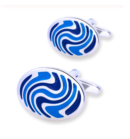 Abstract oval cufflinks