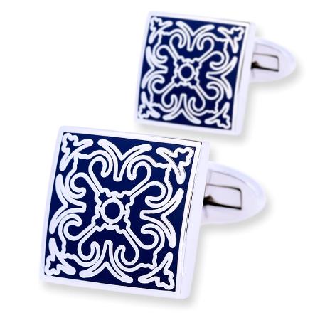 Blue Ornament Wedding Cufflinks - 1