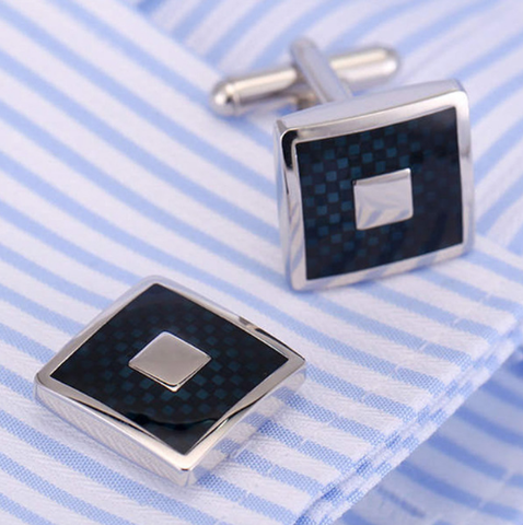 Hexagonal Blue Spiral Cufflinks - 1