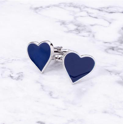 Blue heart shaped cufflinks