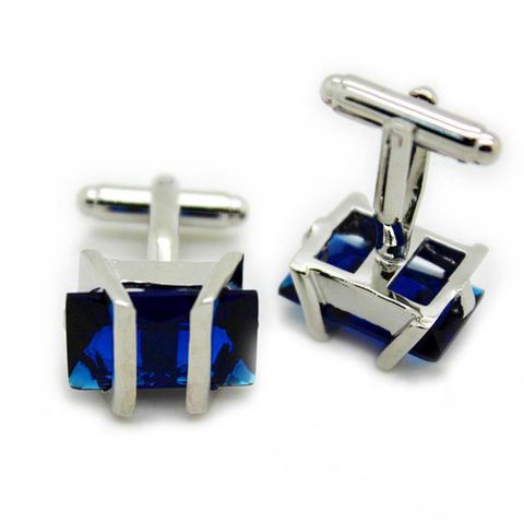 Barred Blue Crystal Cufflinks - 1