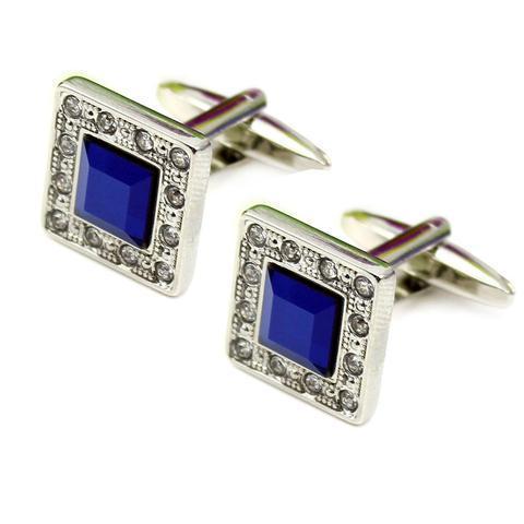 Luxury Deep Blue Crystal Cufflinks - 1