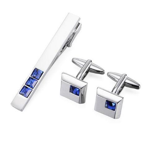 Alabama - Blue Crystal Cufflinks and Tie Clip Set - 1