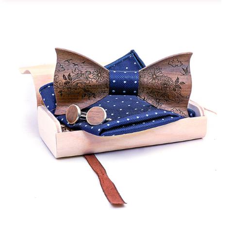 Wooden cufflinks with Balrog bow tie