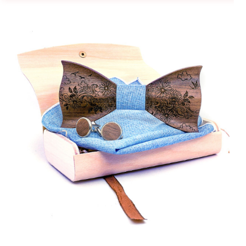 Wooden cufflinks with Amfora bow tie - 1
