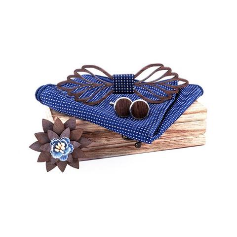 Wooden cufflinks with Viena bow tie