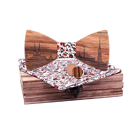 Wooden cufflinks with Bordeaux bow tie