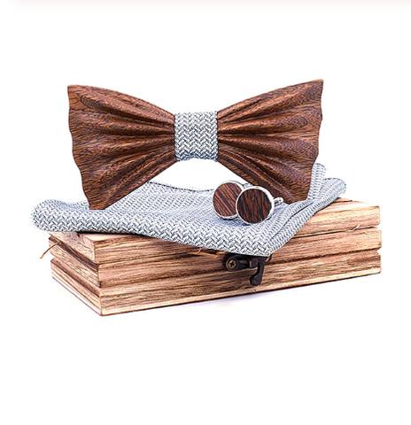 Floral - Cufflinks Bow Tie Pocket Square Set