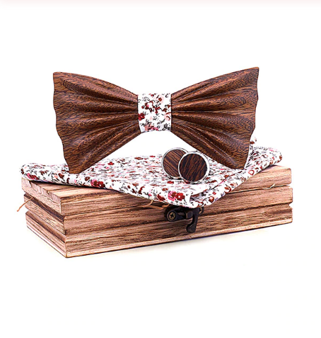 Wooden cufflinks with Tarent bow tie