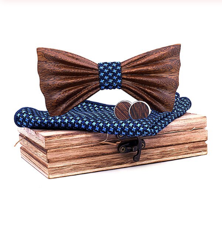 Wooden cufflinks with Lecce bow tie