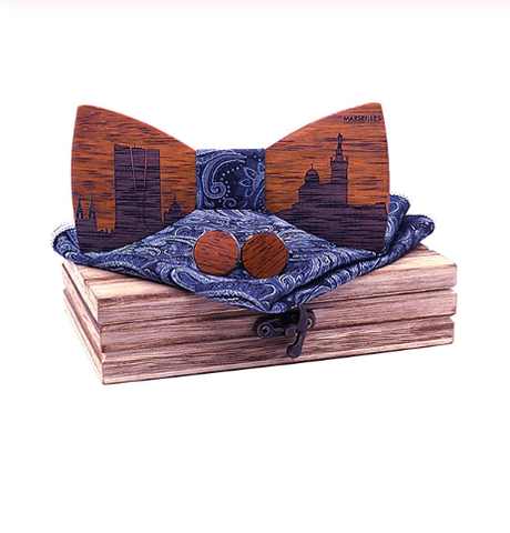 Carolinum - Cufflinks Bow Tie Pocket Square Set