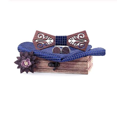 Wooden cufflinks with Helsinky bow tie