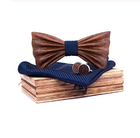 Wooden cufflinks with Venezia bow tie