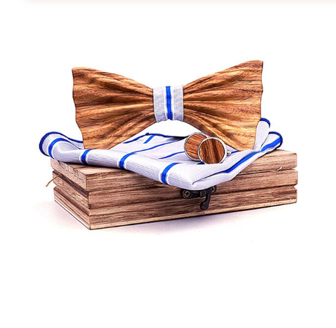 Wooden cufflinks with Petrohrad bow tie