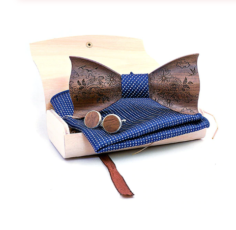 Wooden cufflinks with Norfolg bow tie