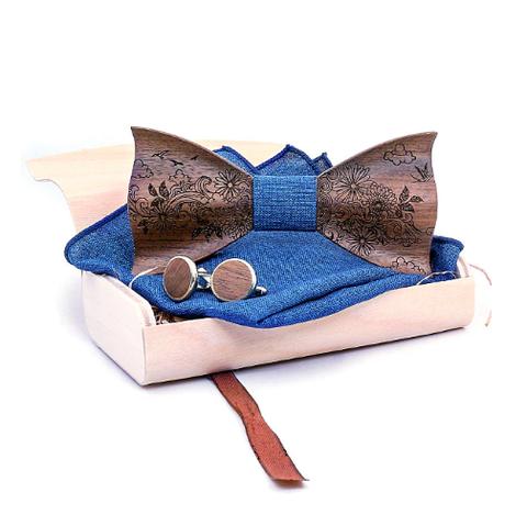 Wooden cufflinks with Dublin bow tie