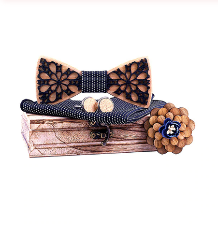 Violet - Cufflinks Bow Tie Pocket Square Set