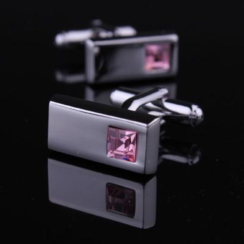 Light Violet Crystal Dark Metal Cufflinks - 1
