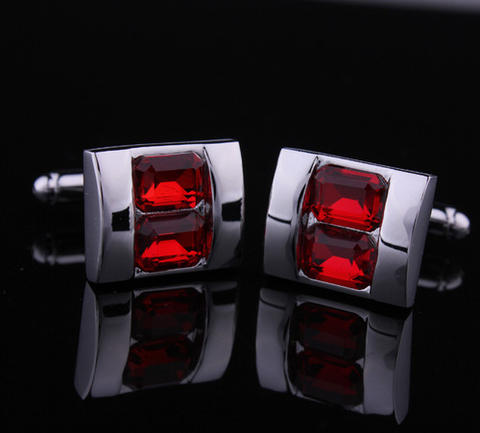 Red Double Crystal Cufflinks