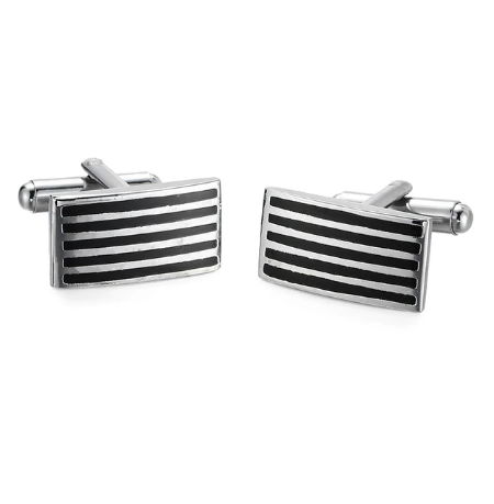 Steel Black Stripes Cufflinks - 1
