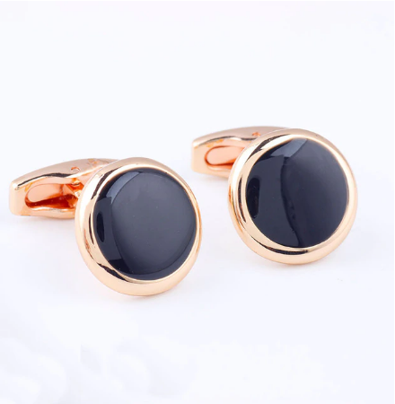 Eye - shaped black cufflinks