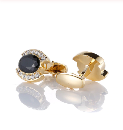 Black decorated oval cufflinks