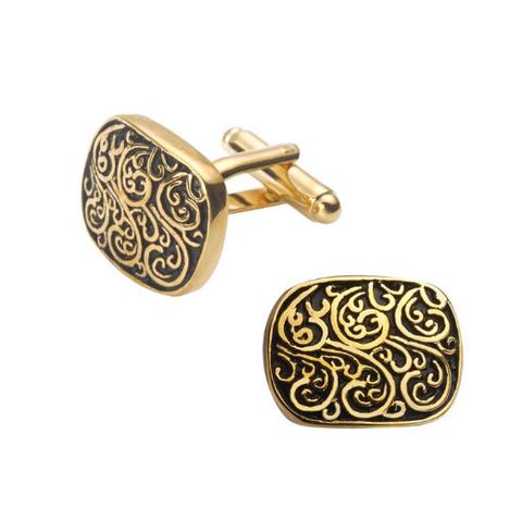 Medieval Ornament Gold Metal Cufflinks - 1