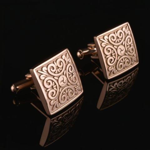 Bronze Ornament Square Cufflinks - 1