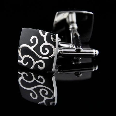 Silver Metal Ornament Design Cufflinks - 1