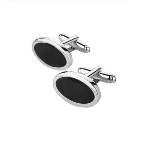 Stylish Black Oval Cufflinks